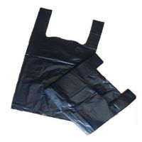 BLACK Plastic Vest Carrier Bags Small 8x13x17""